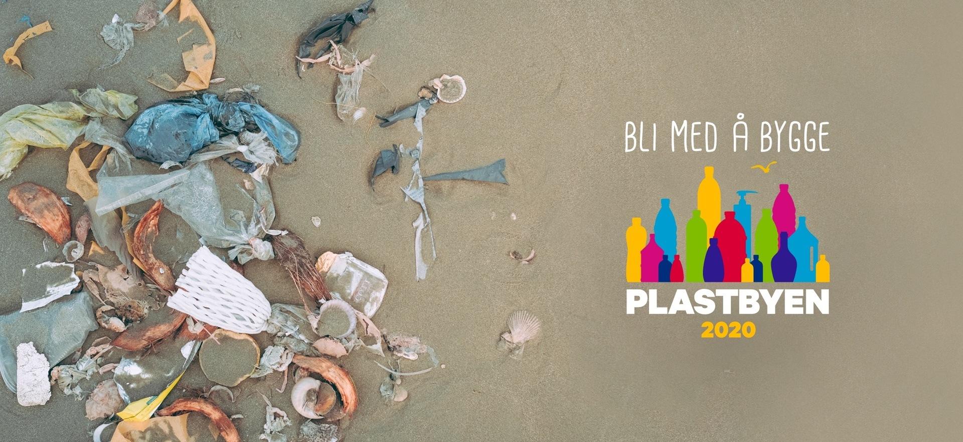 Illustrasjon av søppel på en strand som bakgrunn med Plastbyen logo
