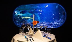 Dekket bord med utsikt inn i et akvarium