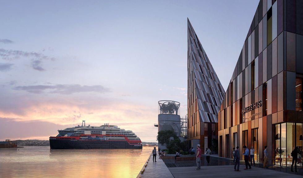 Arkitekt-skisse som viser hvordan Det Nye Akvariet kan se ut på Dokken